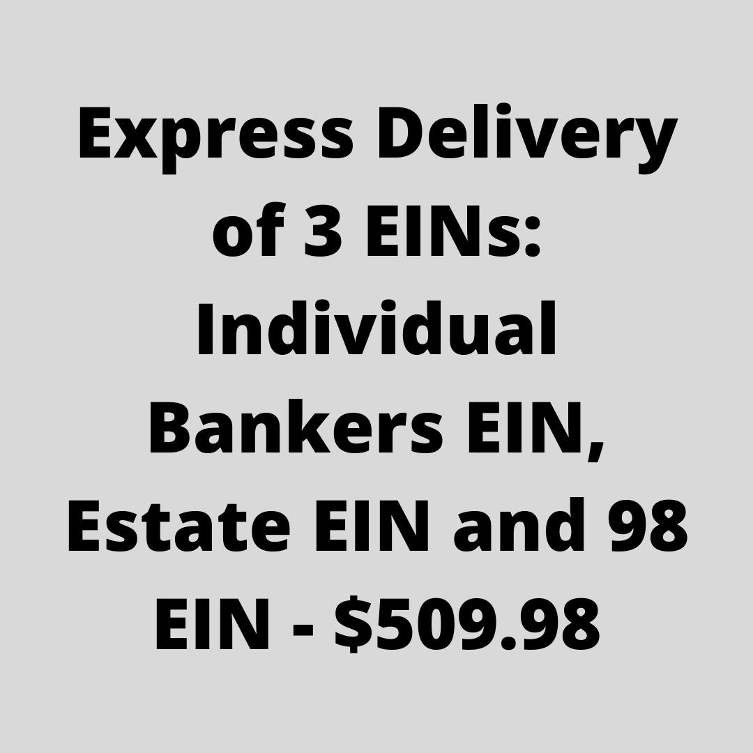 Standard Delivery Trio EINs: Individual Bankers EIN